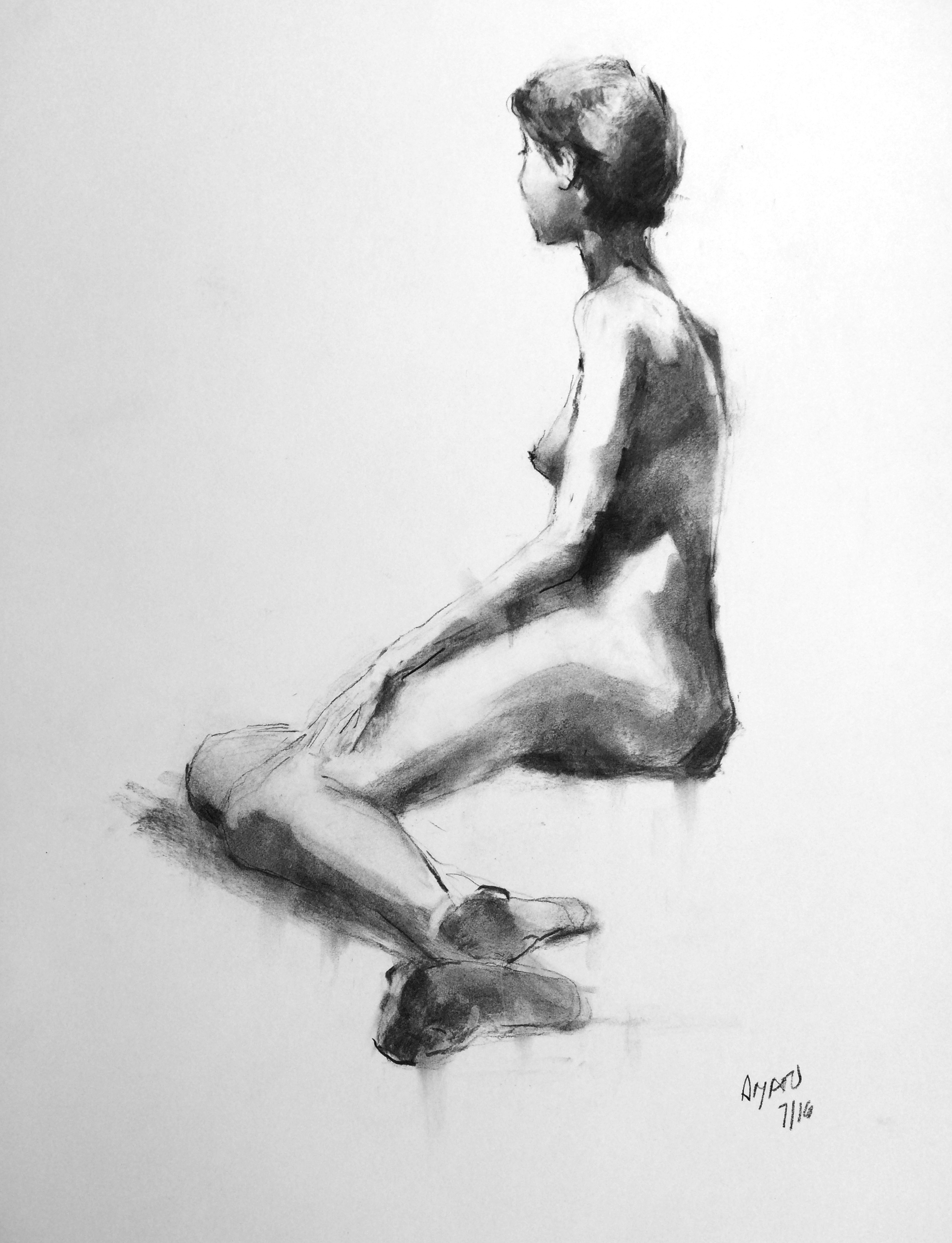 Charcoal figure drawings