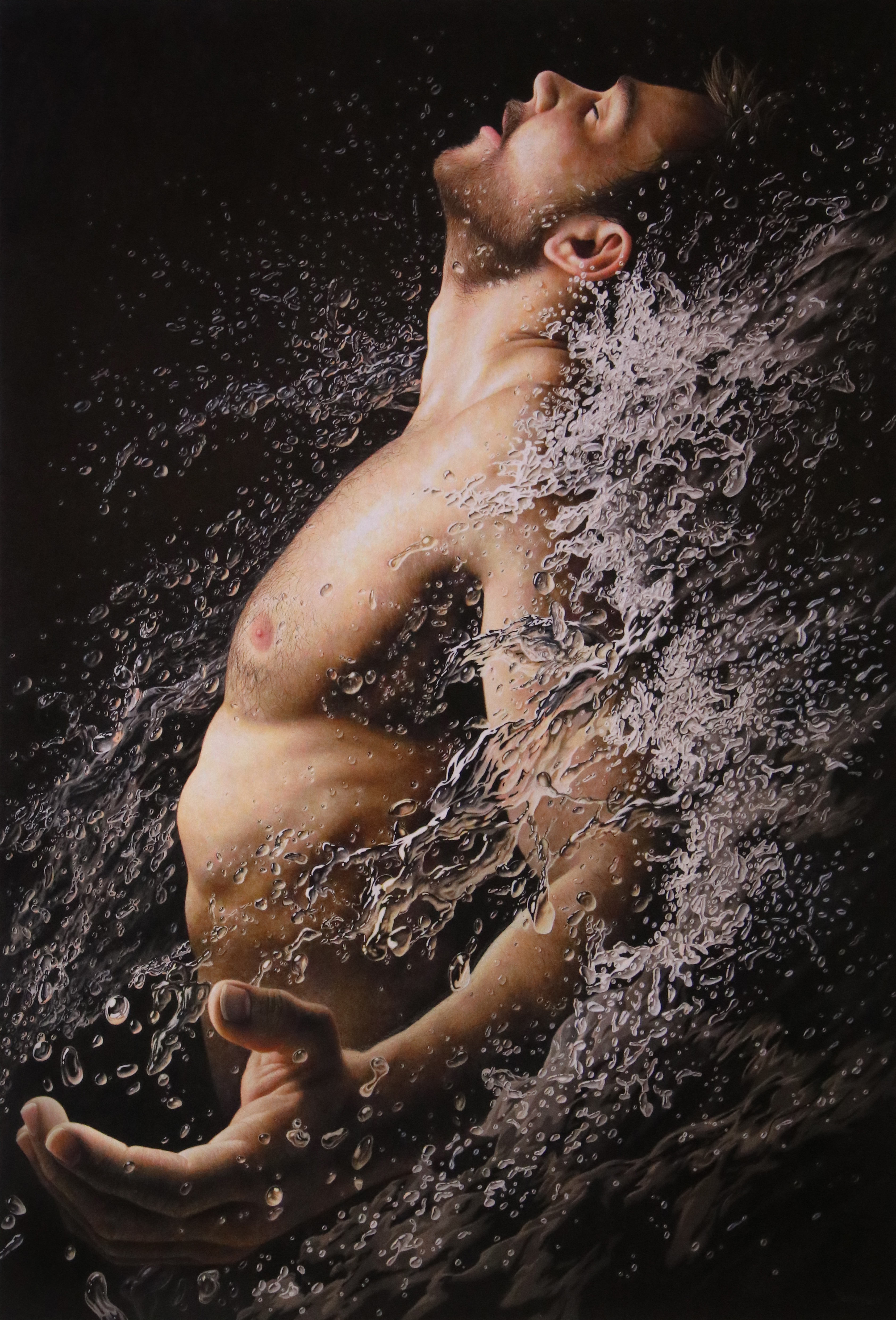 "Jesse Lane, ""Adrenaline,"" colored pencil, 40 x 27 in."