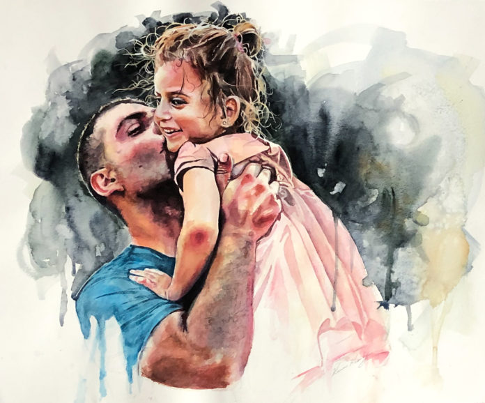 Painting portraits - watercolor portrait of a man holding a child