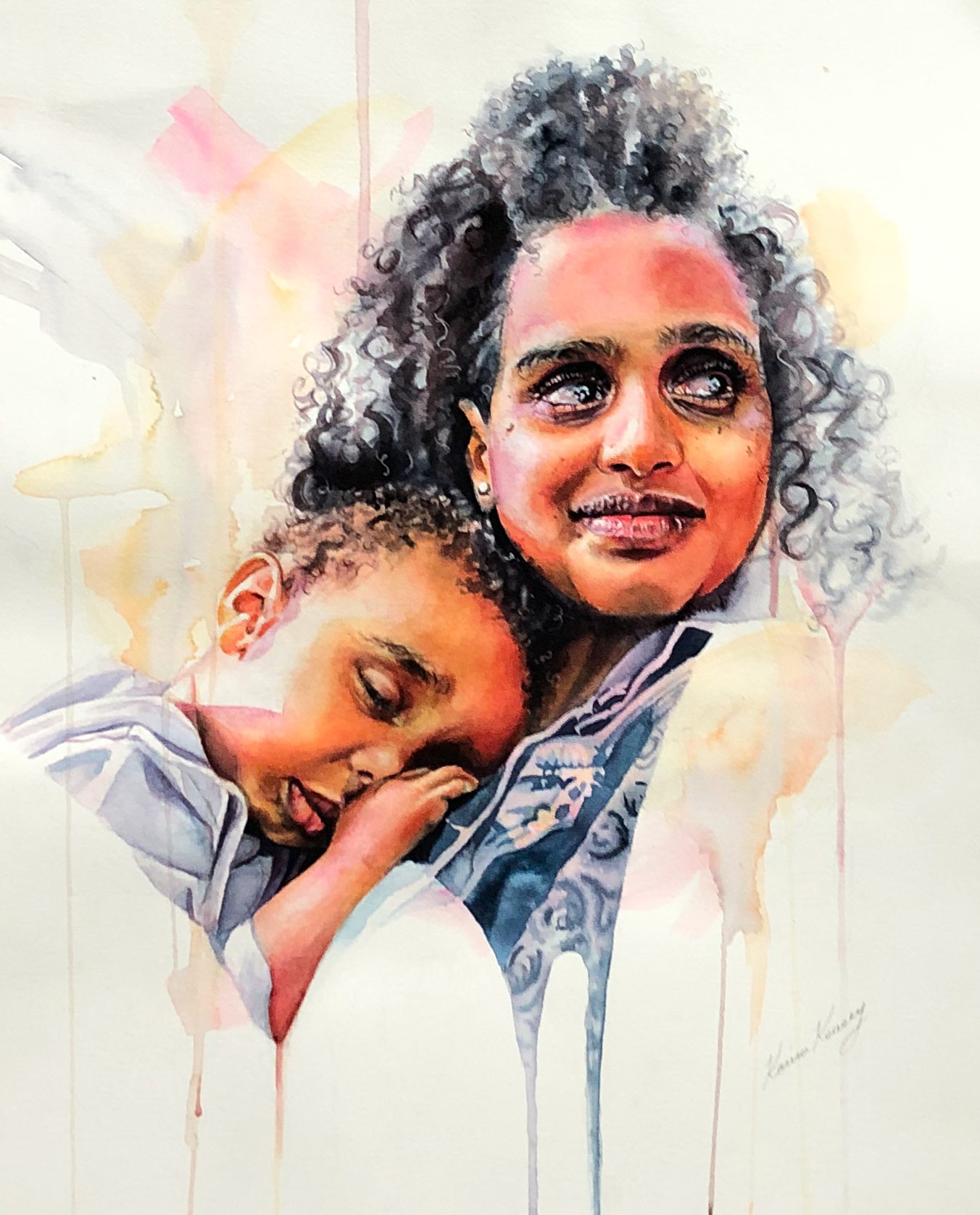 Watercolor realism painting portraits - woman with boy