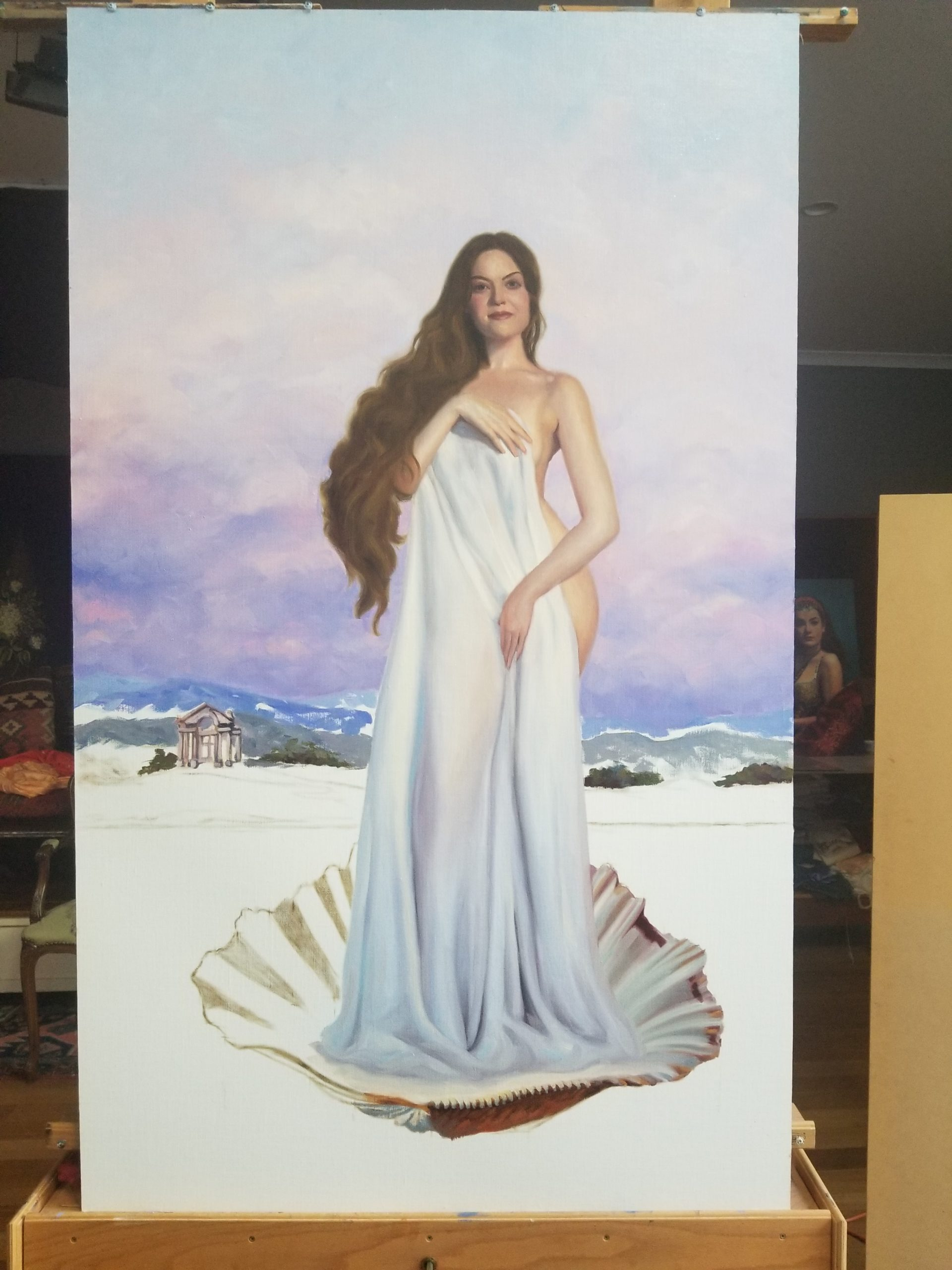 Birth of Venus inspired art Vicki Sullivan painting demo narrative art