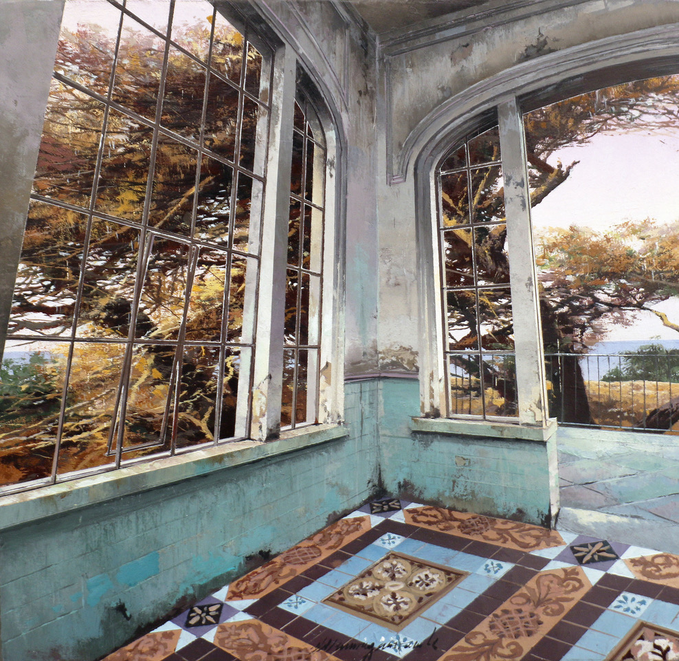 Painting of a room with large windows
