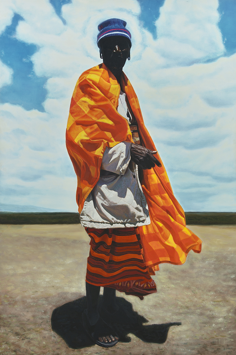 Oil painting of a person wearing colorful fabric