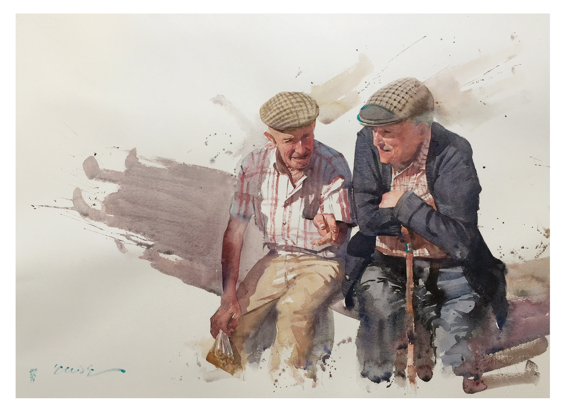Watercolor painting of two men