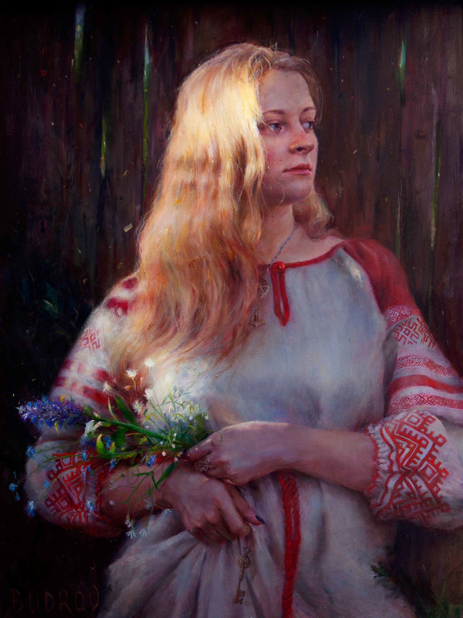Contemporary realism portrait painting of a woman