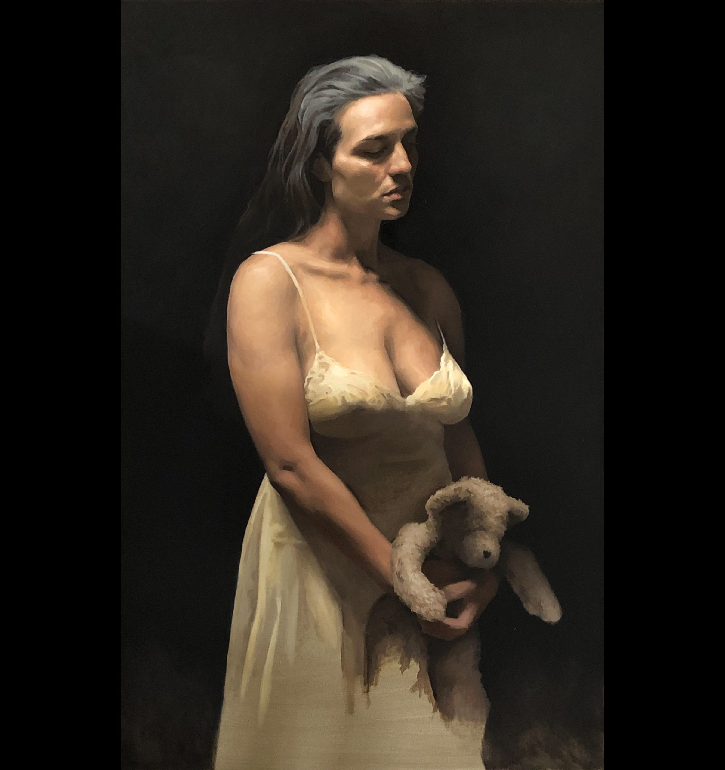 Figurative art realism painting of a woman