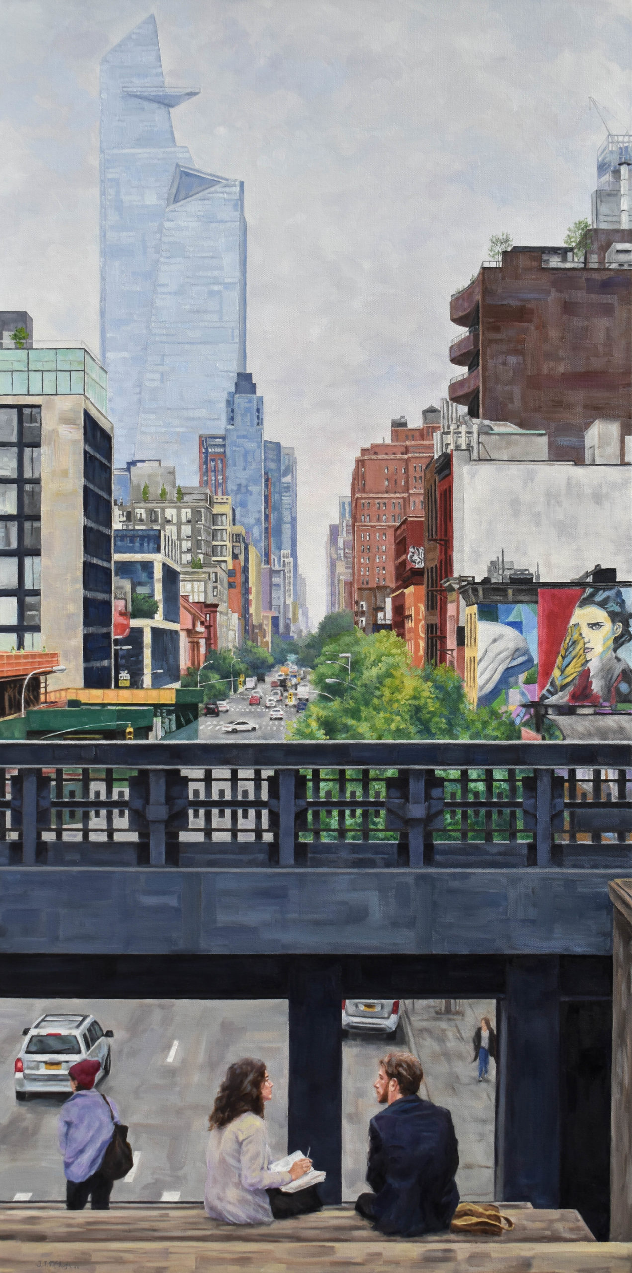 Contemporary realism cityscape painting