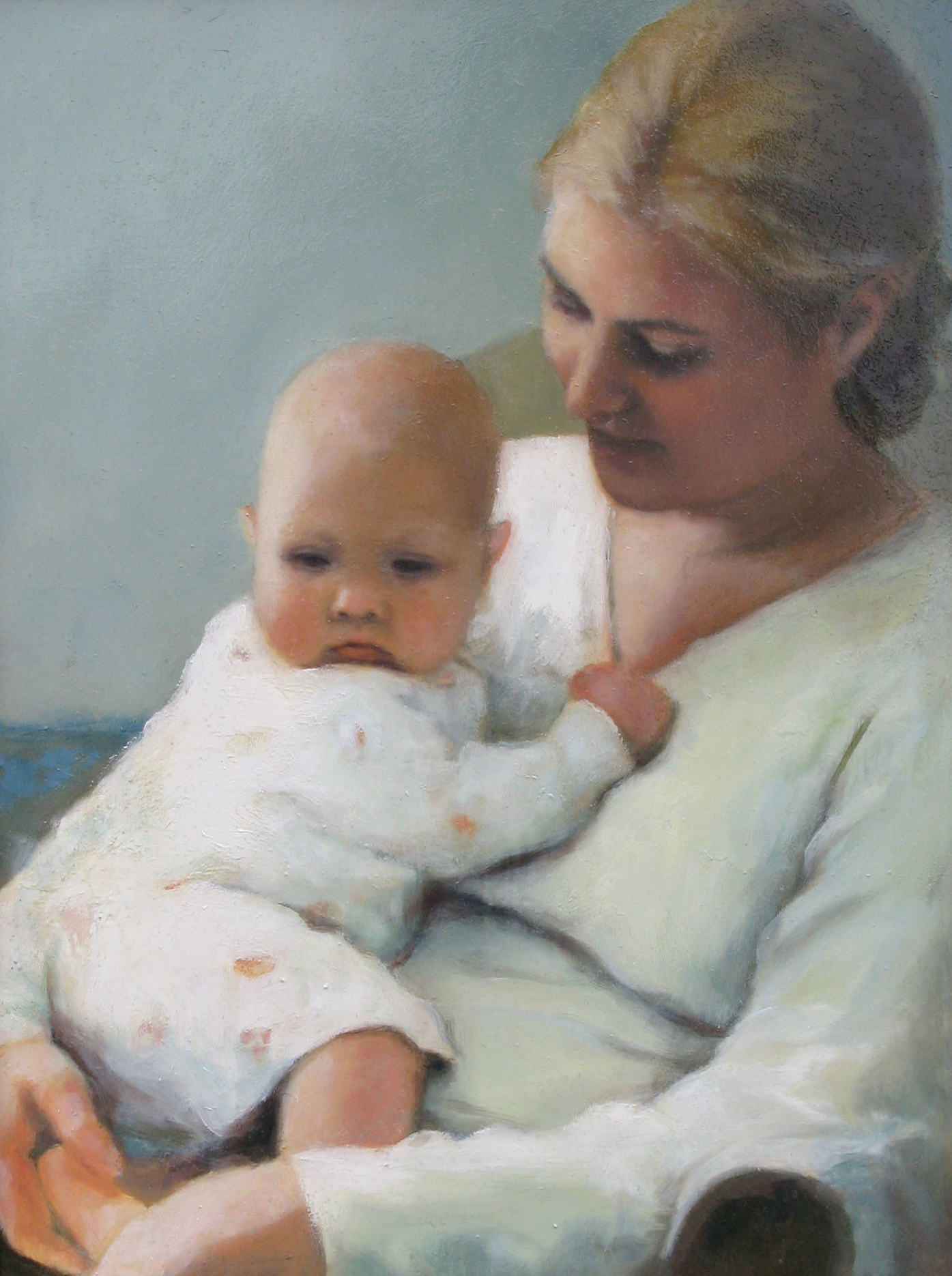 Paintings of mothers - Oil painting of mother with child