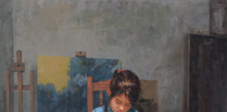 Painting of a girl making art