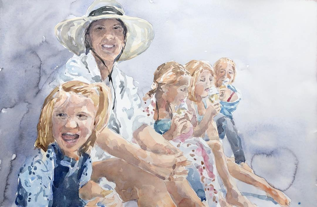 """Birgit O'Connor, """"Family Portrait Painting,"""" watercolor, 15 x 22.1 in."""