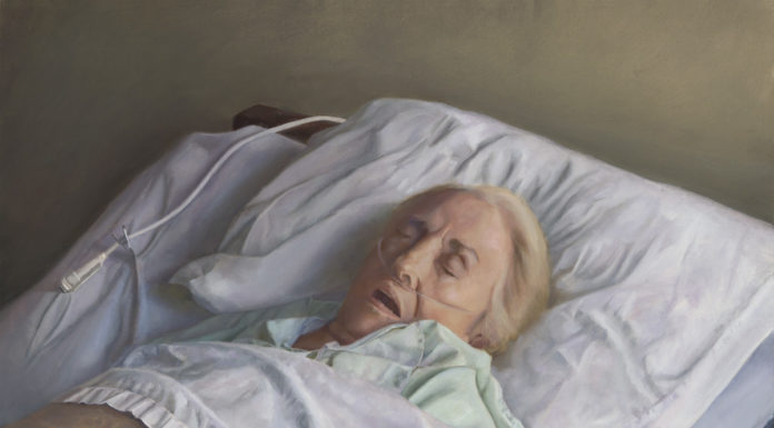 Artists respond to 2020 - portrait of a woman in hospital