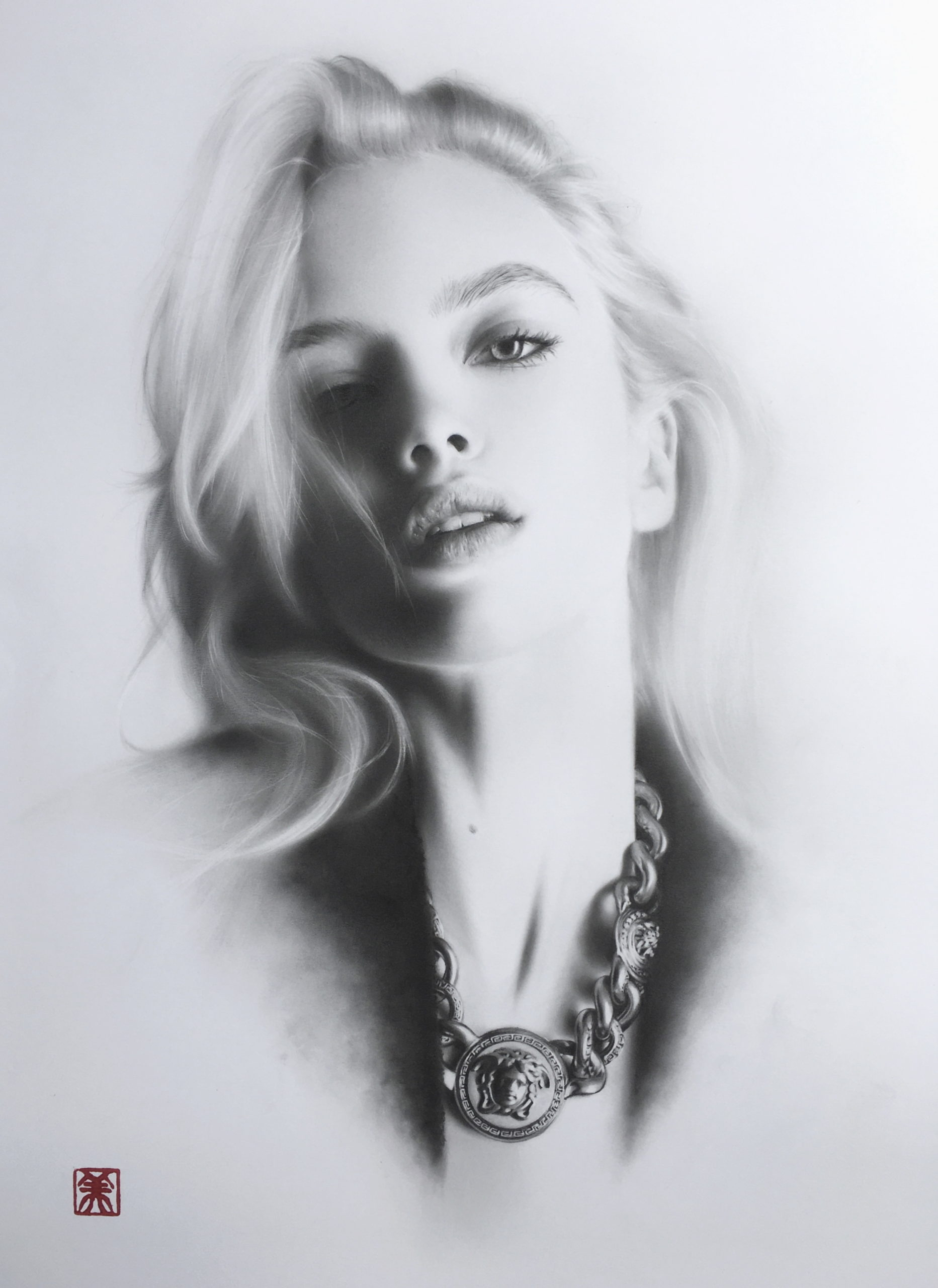 Black and white portrait drawing