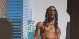 """Detail of """"Apollo of New York"""" realism painting"""