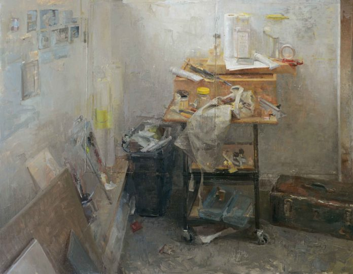 Contemporary realism - painting of an artist's taboret