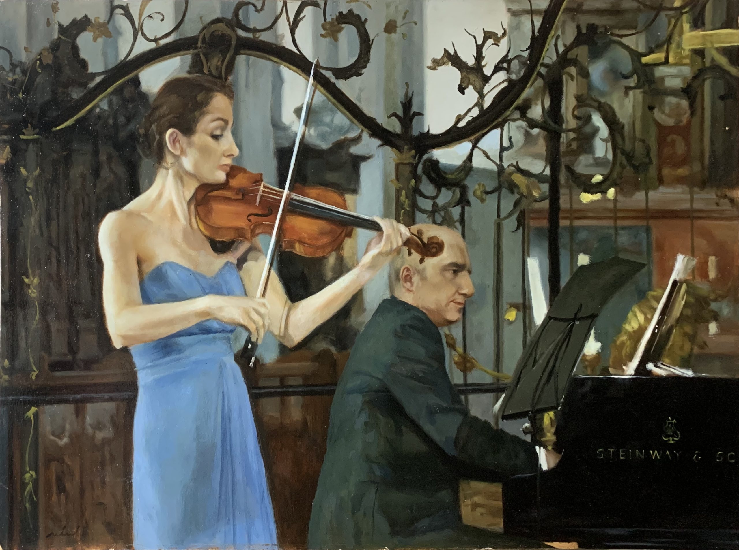Narrative painting of musicians